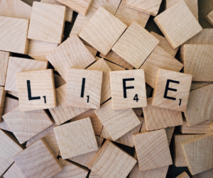 Scrabble image depicting the word LIFE spelled out