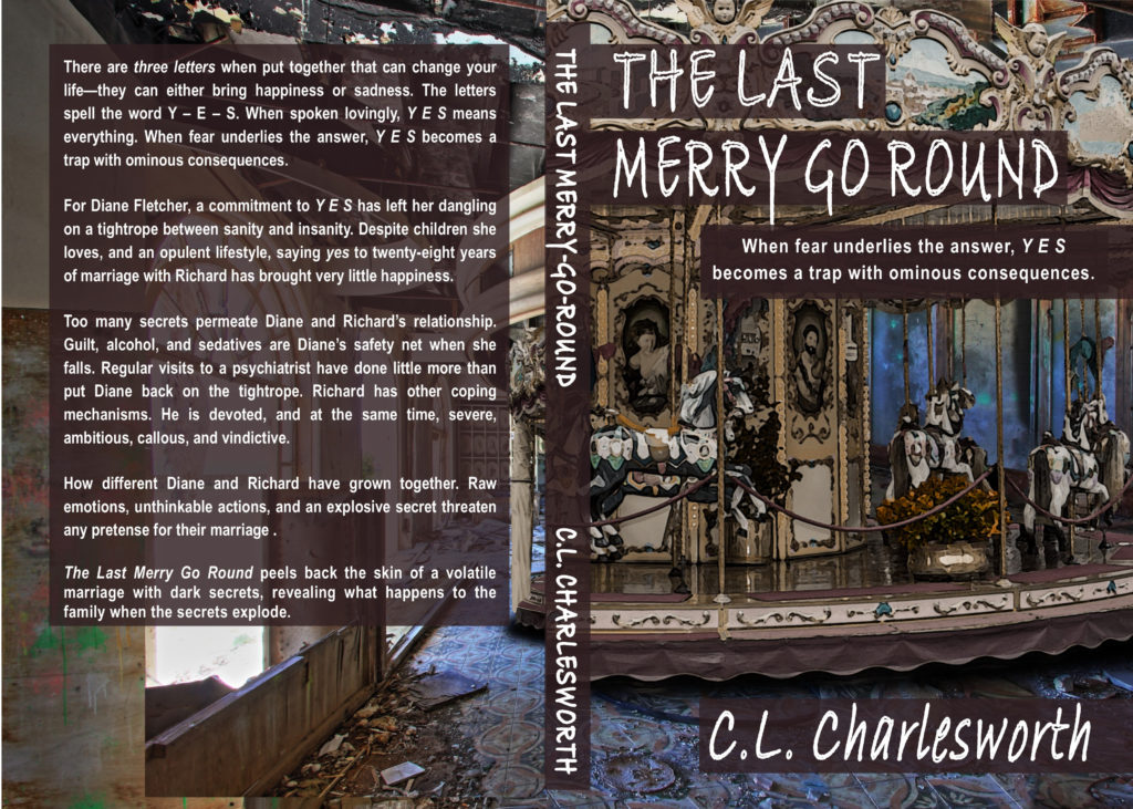 Book front and back cover Art for The Last Merry Go Round written by c.l. charlesworth due out end of November 2019