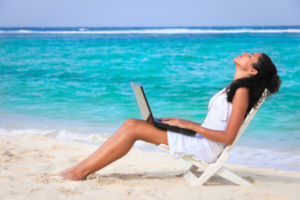 a need to rejuvenate before writing again-woman on beach