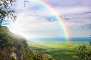 Optimism and readiness depicted by a rainbow of hope
